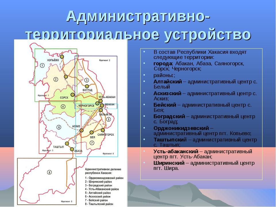 Административно-территориальное устройство В состав Республики Хакасия входят...