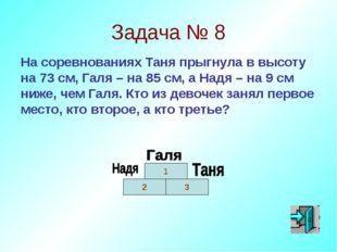 Задача № 8 На соревнованиях Таня прыгнула в высоту на 73 см, Галя – на 85 см,