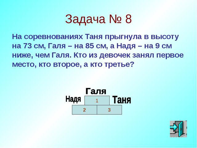 Задача № 8 На соревнованиях Таня прыгнула в высоту на 73 см, Галя – на 85 см,...
