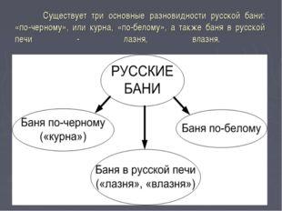 Существует три основные разновидности русской бани: «по-черному», или курна,