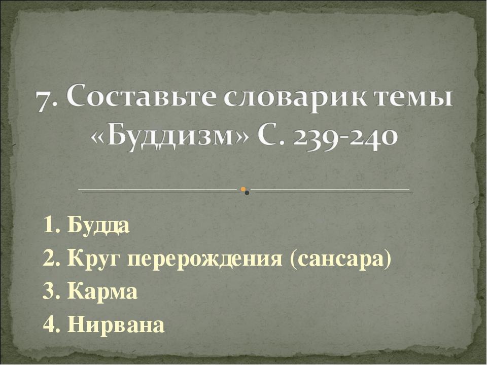 1. Будда 2. Круг перерождения (сансара) 3. Карма 4. Нирвана