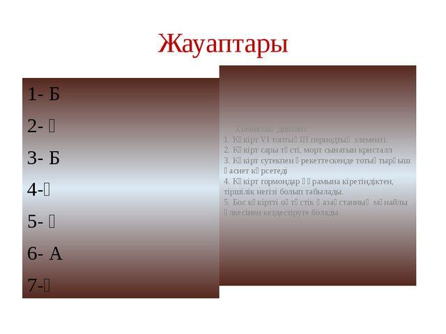 Жауаптары 1- Б 2- Ә 3- Б 4-Ә 5- Ә 6- А 7-Ә Химиялық диктант. 1. Күкірт VІ топ...