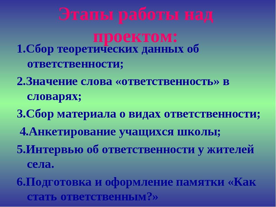 Этапы работы над проектом: 1.Сбор теоретических данных об ответственности; 2....