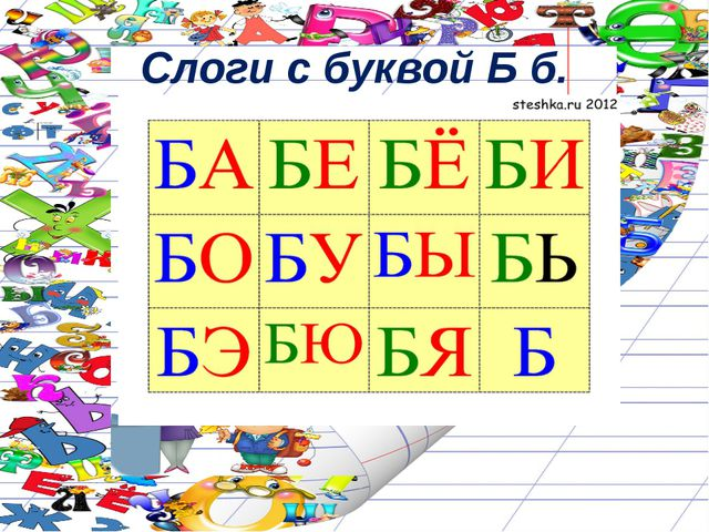 Слоги с буквой Б б.