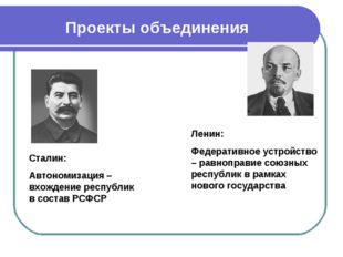 Проекты объединения Ленин: Федеративное устройство – равноправие союзных респ