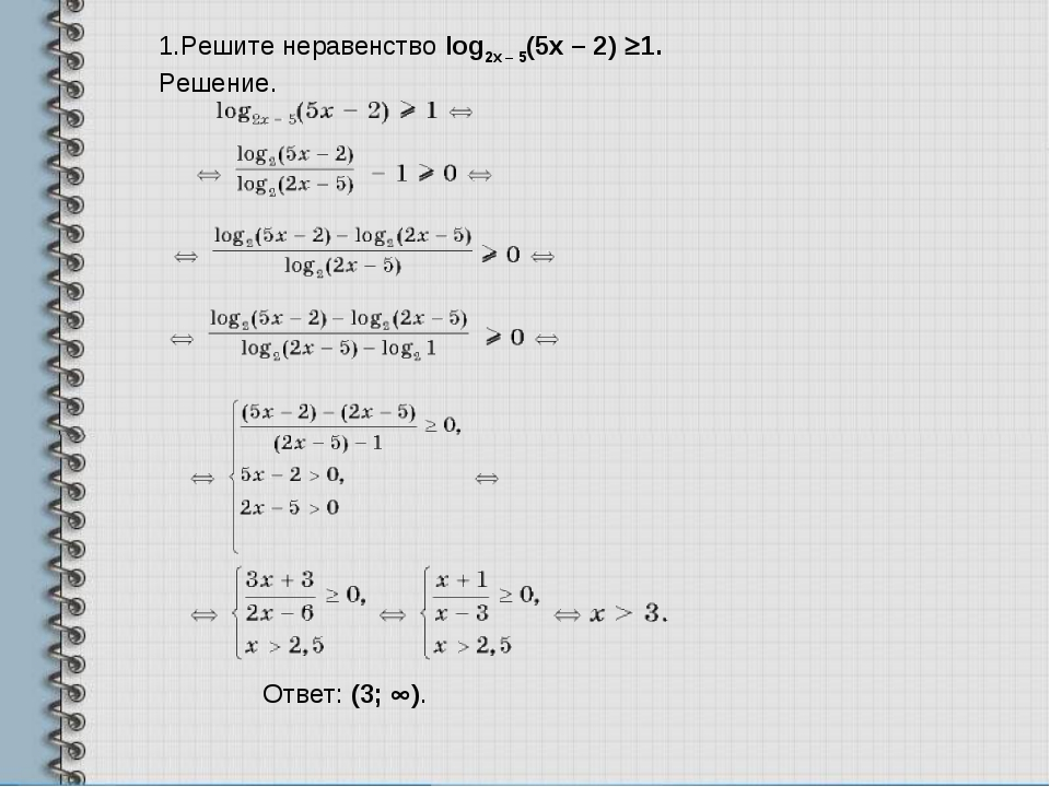 1.Решите неравенствоlog2x – 5(5x – 2)³1. Решение. Ответ:(3;¥).