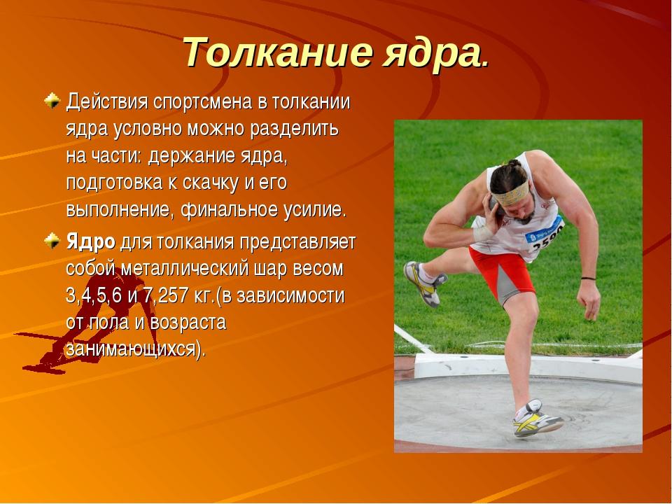 Толкание ядра. Действия спортсмена в толкании ядра условно можно разделить на...