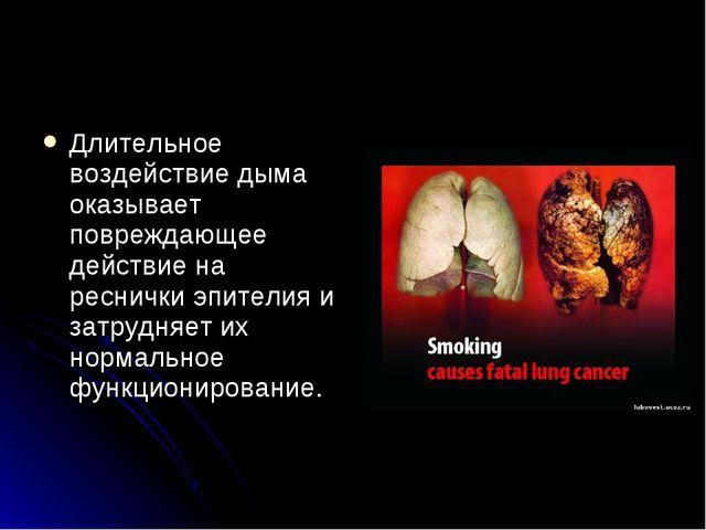 Длительное воздействие дыма оказывает повреждающее действие на реснички эпите...