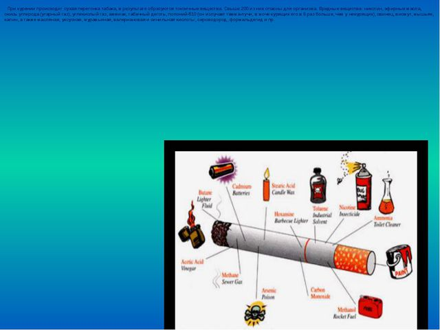 При курении происходит сухая перегонка табака, в результате образуются токси...