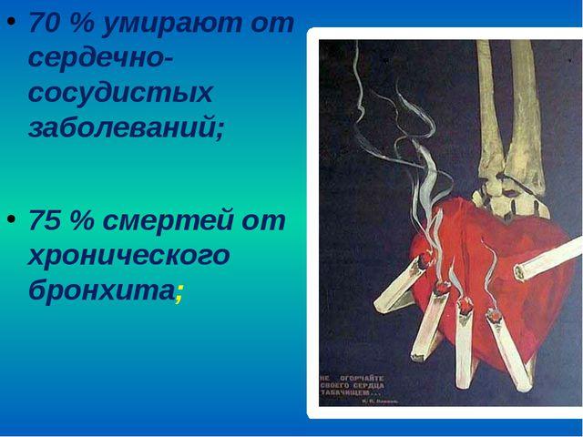 70 % умирают от сердечно-сосудистых заболеваний; 75 % смертей от хронического...