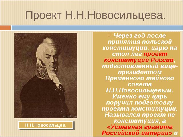 Проект Н.Н.Новосильцева. Через год после принятия польской конституции, царю...