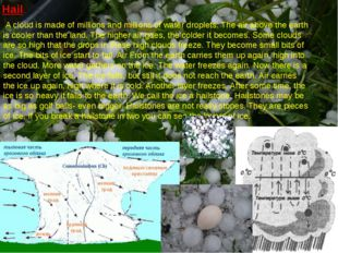 Hail. A cloud is made of millions and millions of water droplets. The air abo