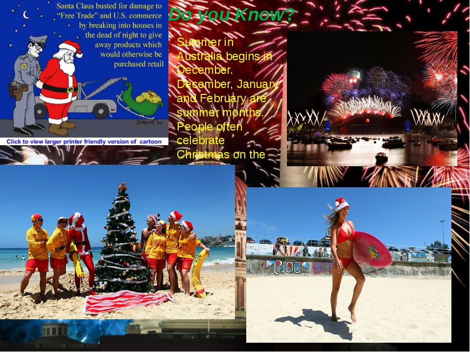 Do you Know? Summer in Australia begins in December. December, January and Fe...