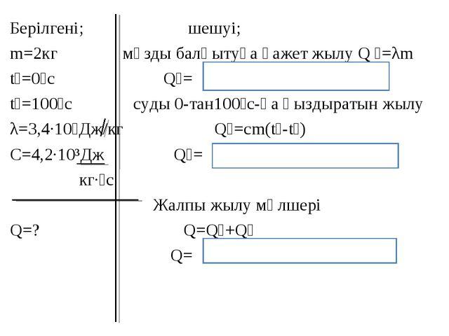 Берілгені; шешуі; m=2кг мұзды балқытуға қажет жылу Q ₁=λm t₁=0⁰с Q₁= t₂=100⁰с...
