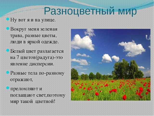 Разноцветный мир Ну вот я и на улице. Вокруг меня зеленая трава, разные цвет...
