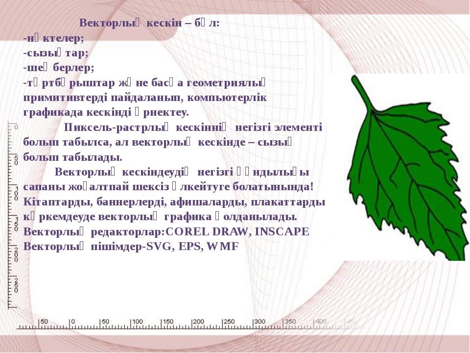 Векторлық кескін – бұл: -нүктелер; -сызықтар; -шеңберлер; -төртбұрыштар және...