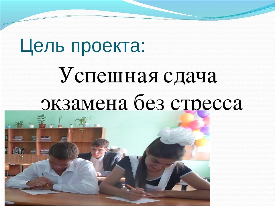 Цель проекта: Успешная сдача экзамена без стресса