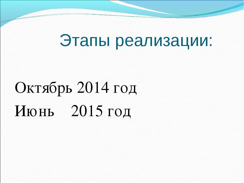 Этапы реализации: Октябрь 2014 год Июнь 2015 год