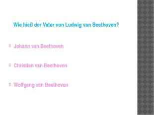 Wie hieß der Vater von Ludwig van Beethoven? Johann van Beethoven Christian v