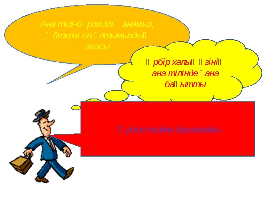 Ана тілі-бәріміздің анамыз, Өйткені ол-ұлтымыздың анасы Әрбір халық өзінің ан...