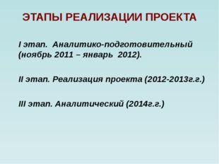 ЭТАПЫ РЕАЛИЗАЦИИ ПРОЕКТА I этап. Аналитико-подготовительный (ноябрь 2011 – ян