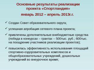Основные результаты реализации проекта «Спортландия» январь 2012 – апрель 20