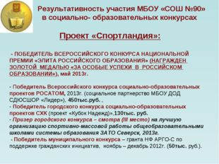 Результативность участия МБОУ «СОШ №90» в социально- образовательных конкурс