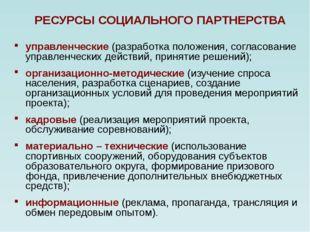 РЕСУРСЫ СОЦИАЛЬНОГО ПАРТНЕРСТВА управленческие (разработка положения, согласо