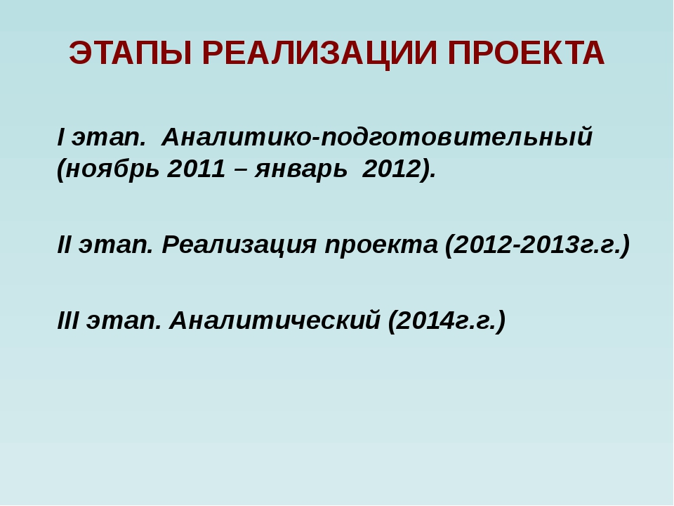 ЭТАПЫ РЕАЛИЗАЦИИ ПРОЕКТА I этап. Аналитико-подготовительный (ноябрь 2011 – ян...