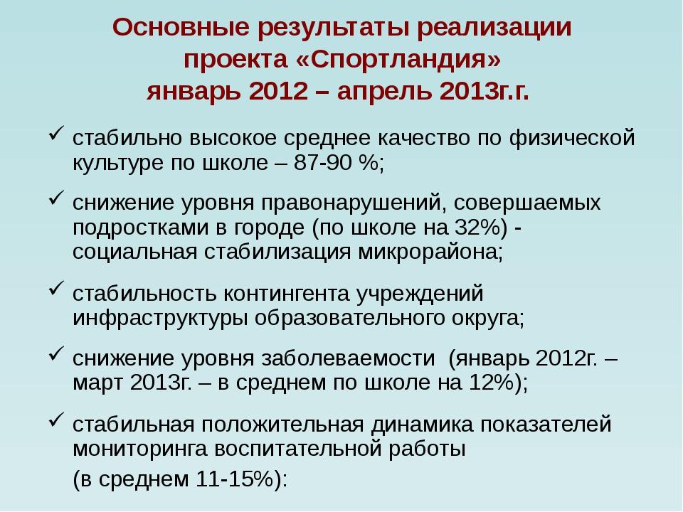 Основные результаты реализации проекта «Спортландия» январь 2012 – апрель 201...