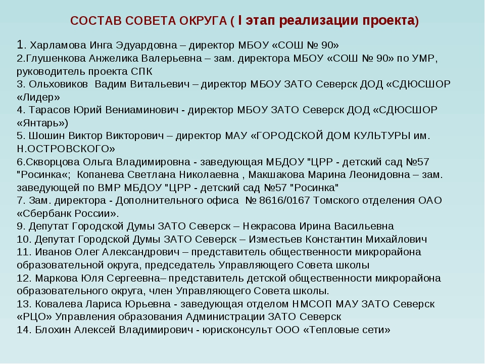 СОСТАВ СОВЕТА ОКРУГА ( I этап реализации проекта) 1. Харламова Инга Эдуардов...