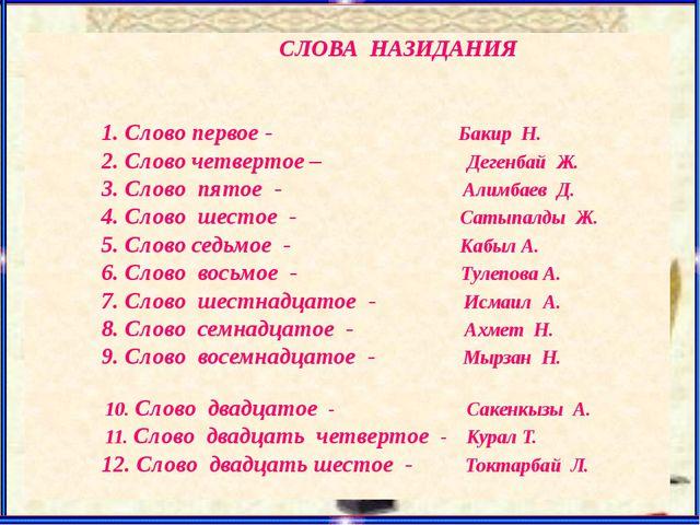 СЛОВА НАЗИДАНИЯ 1. Слово первое - Бакир Н. 2. Слово четвертое – Дегенбай Ж....
