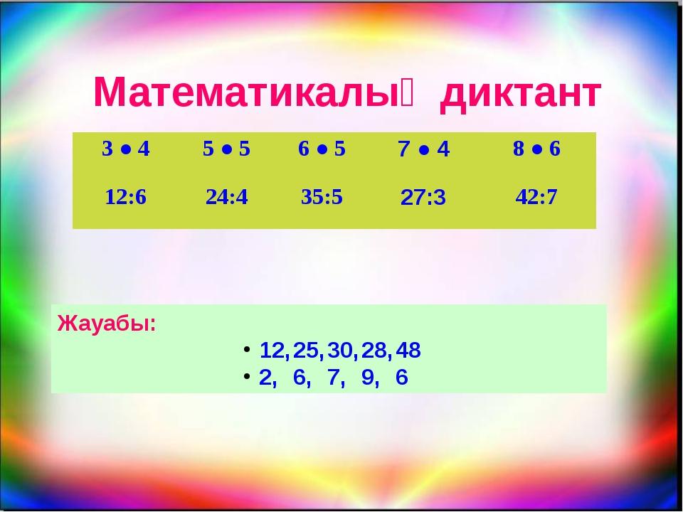 Математикалық диктант Жауабы: 12,25,30,28,48 2,6,7,9,6 3●4 5●5 6●5 7●...