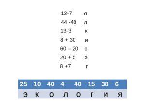 13-7 я 44 -40 л 13-3 к 8 + 30 и 60 – 20 о 20 + 5 э 8 +7 г э к о л о г и я 25