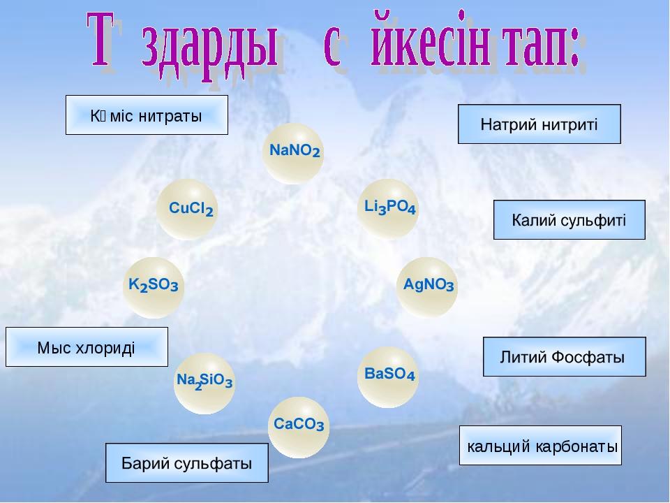 Мыс хлориді Күміс нитраты кальций карбонаты