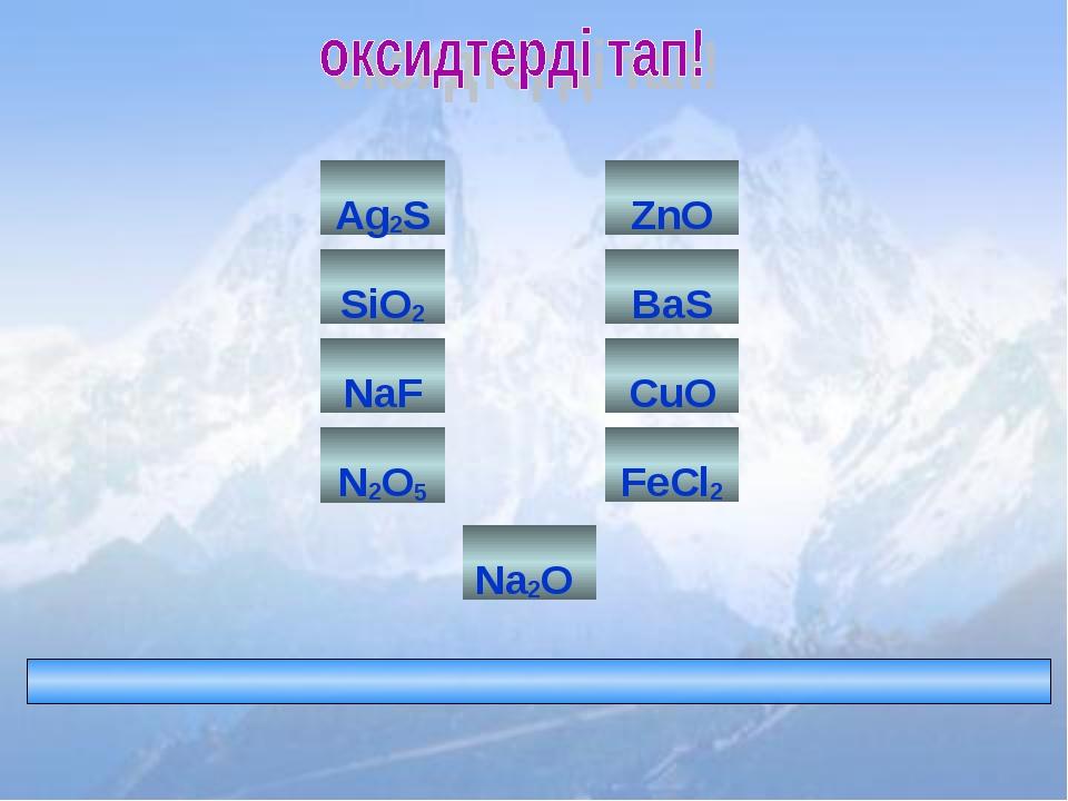 FeCl2 BaS N2O5 Ag2S CuO ZnO SiO2 Na2O NaF