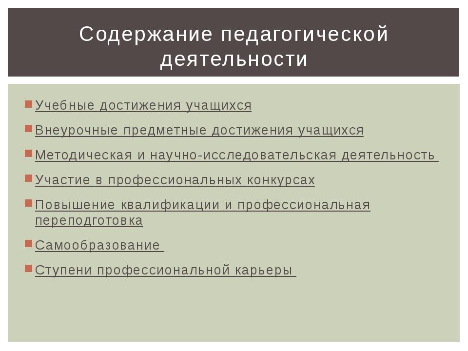 Учебные достижения учащихся Внеурочные предметные достижения учащихся Методич...