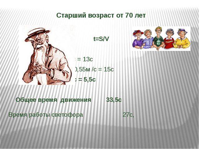 Старший возраст от 70 лет t=S/V 7м/0,55 м/с = 13с 8м/0,55м /с = 15с...