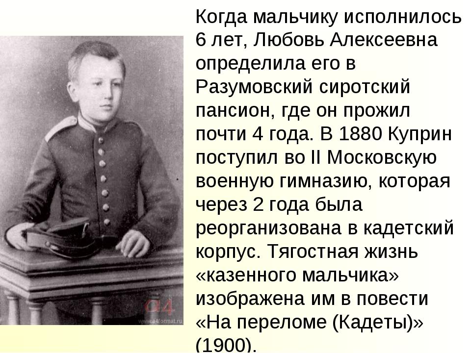 Когда мальчику исполнилось 6 лет, Любовь Алексеевна определила его в Разумовс...