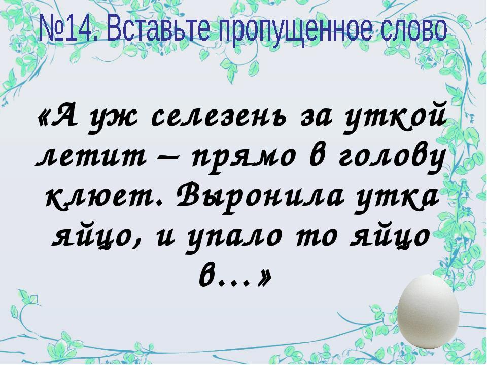 «А уж селезень за уткой летит – прямо в голову клюет. Выронила утка яйцо, и у...