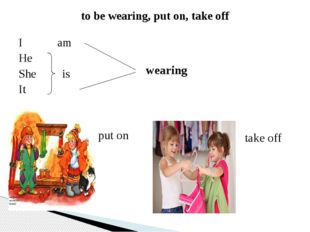 to be wearing, put on, take off I am He She is It wearing put on take off