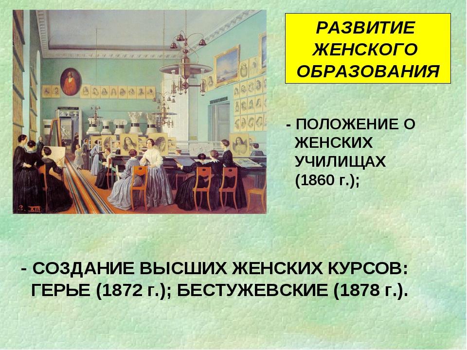 РАЗВИТИЕ ЖЕНСКОГО ОБРАЗОВАНИЯ - СОЗДАНИЕ ВЫСШИХ ЖЕНСКИХ КУРСОВ: ГЕРЬЕ (1872 г...