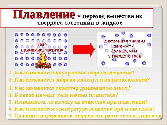 Плавление - переход вещества из твердого состояния в жидкое 2. Как изменяется...