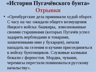 «История Пугачёвского бунта» Отрывки «Оренбургские дела принимали худой оборо