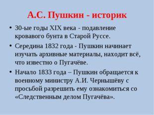 А.С. Пушкин - историк 30-ые годы XIX века - подавление кровавого бунта в Стар