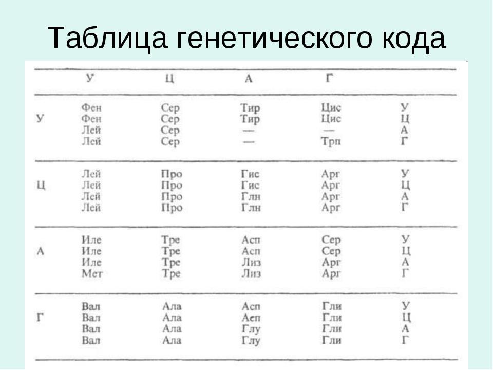 Таблица генетического кода