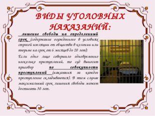 ВИДЫ УГОЛОВНЫХ НАКАЗАНИЙ: лишение свободы на определенный срок (содержание ос