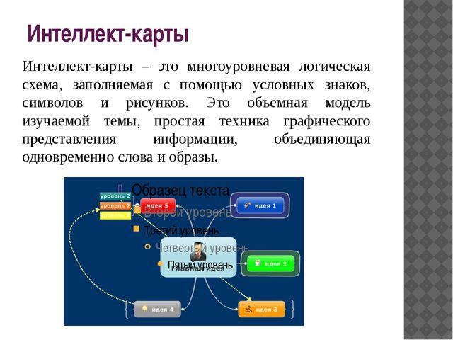 Интеллект-карты Интеллект-карты – это многоуровневая логическая схема, заполн...