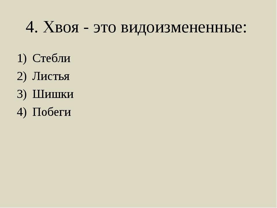 4. Хвоя - это видоизмененные: Стебли Листья Шишки Побеги