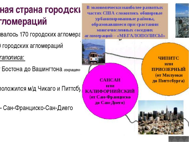 Сша - типичная страна городских агломераций В 1950г. – насчитывалось 170 горо...